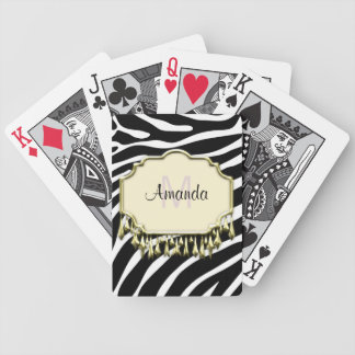 Retro Zebra Skin With Gold Bling Deck Of Cards