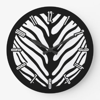 Retro Zebra Stripe Pattern Large Clock