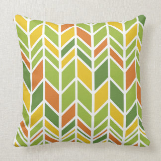 Retro Zig-Zag Orange and Green Throw Pillow