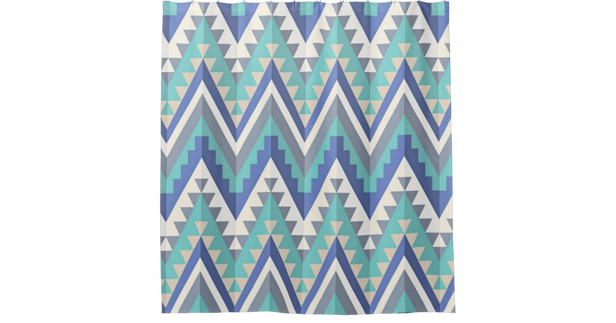 Retro Zigzag Chevron Teal Blue Grey Taupe White Shower