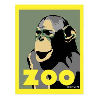 Retro Zoo Berlin monkey travel advertising Postcard