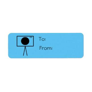 RetroCam gift tag label (light blue)
