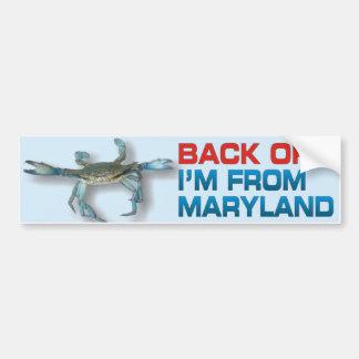 Retroceda - cangrejo de Maryland - a la pegatina p Pegatina Para Auto