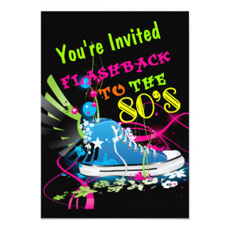 """Retroceso a la zapatilla de deporte del neón de invitación 5"""" x 7"""""""