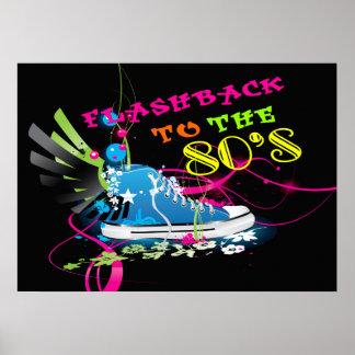 Retroceso a los años 80 zapatilla de deporte y ala posters