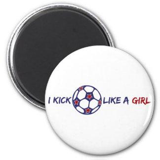 Retroceso como un chica (fútbol) imán redondo 5 cm