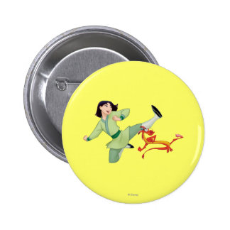 Retroceso con el pie de Mulan y de Mushu Pin Redondo De 2 Pulgadas