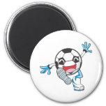 Retroceso con el pie feliz del jugador de fútbol imán para frigorífico