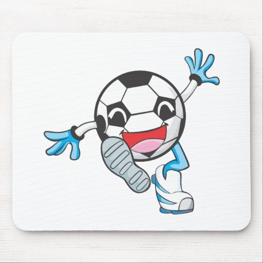 Retroceso con el pie feliz del jugador de fútbol alfombrillas de ratones