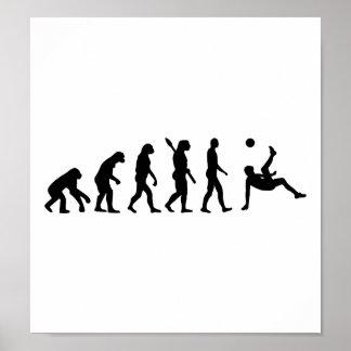 Retroceso de bicicleta del fútbol de la evolución póster