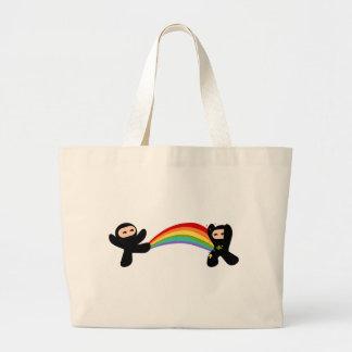 Retroceso de Ninja del arco iris Bolsa Lienzo