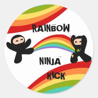 Retroceso de Ninja del arco iris Pegatinas Redondas