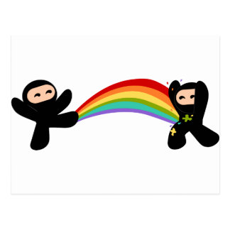 Retroceso de Ninja del arco iris Tarjetas Postales