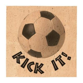 retroceso del balón de fútbol 3D él Posavasos