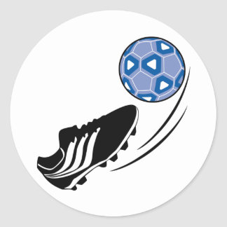 Retroceso del balón de fútbol etiqueta redonda