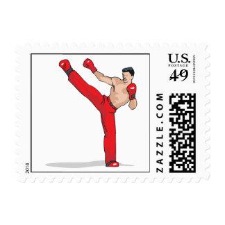 retroceso del gráfico kickboxing del kickboxer con sello