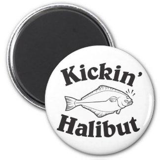 Retroceso del halibut con el pie imán de frigorifico