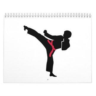 Retroceso del karate de los artes marciales calendario