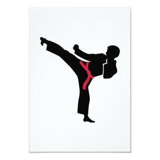 Retroceso del karate de los artes marciales invitación 8,9 x 12,7 cm