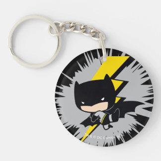 Retroceso del relámpago de Chibi Batman Llavero Redondo Acrílico A Doble Cara