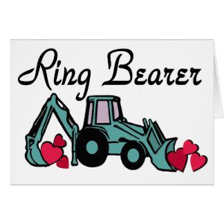 Retroexcavadora del portador de anillo tarjeta de felicitación