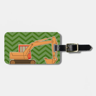Retroexcavadora en el galón del zigzag - verde etiqueta de equipaje