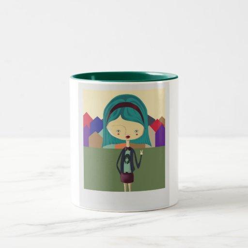 RetroGirl Two-Tone Coffee Mug
