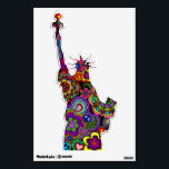 "Retromania 2 Wall Decal Liberty<br><div class=""desc"">A wall decal in the shape of the Statue Of Liberty with a lively and colorful design of peace signs,  paisley,  ankhs,  hearts,  and flowers.</div>"