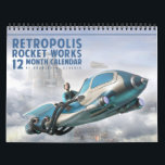 "Retropolis Rocket Works Calendar<br><div class=""desc"">Join us at the 2039 Retropolis Rocket Works exhibition,  and see the very latest models of your favorite flying cars,  hover cars,  and personal rocket ships - and oh,  they&#39;re so affordable!</div>"