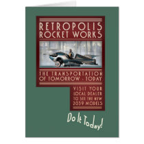Retropolis Rocket Works Greeting Card