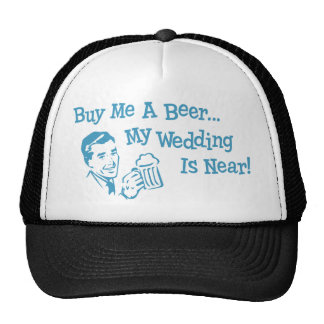 Retros azules me compran una cerveza que mi boda e gorros