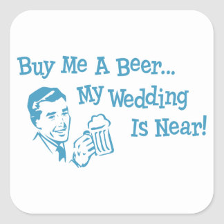 Retros azules me compran una cerveza que mi boda pegatina cuadrada