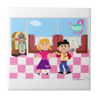 Retroville Sock Hop Diner Ceramic Tile