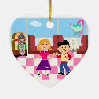 Retroville Sock Hop Diner Double-Sided Heart Ceramic Christmas Ornament