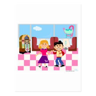 Retroville Sock Hop Diner Postcard