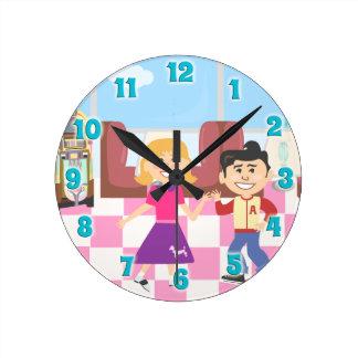 Retroville Sock Hop Diner Round Clock