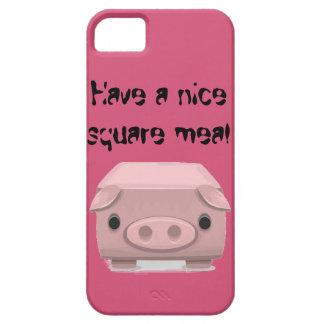 Retruécano cuadrado de la diversión del cerdo funda para iPhone 5 barely there