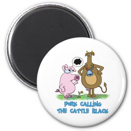 Retruécano divertido - cerdo que llama el ganado n iman para frigorífico