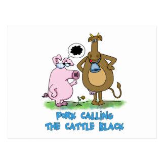 Retruécano divertido - cerdo que llama el ganado tarjetas postales