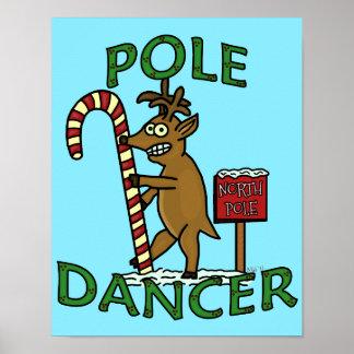 Retruécano divertido del reno del navidad del póster
