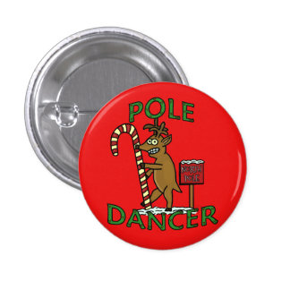 Retruécano divertido del reno del navidad del pin redondo de 1 pulgada