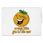 Retruécano divertido - zumo de naranja alegre verm felicitaciones