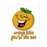 Retruécano divertido - zumo de naranja alegre verm postales