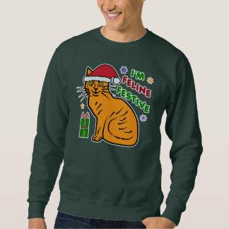 Retruécano festivo del gato del suéter feo