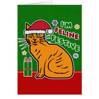 Retruécano festivo felino del día de fiesta del tarjeta de felicitación