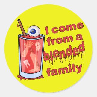 Retruécano mezclado divertido de la familia pegatina redonda