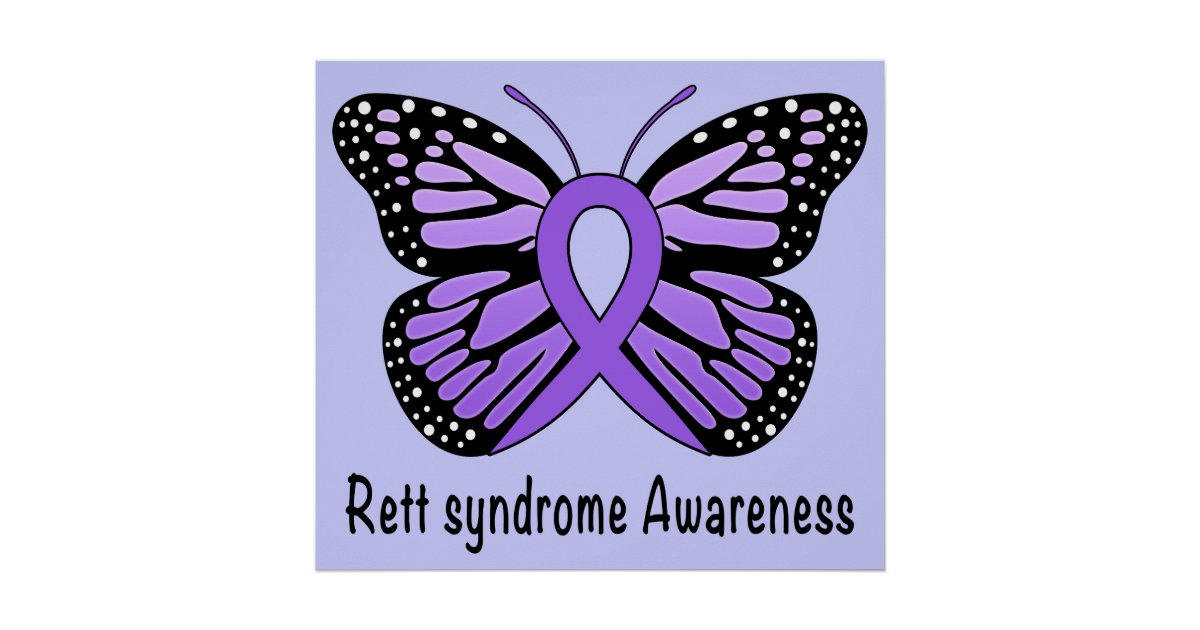 rett syndrome butterfly awareness ribbon of hope poster zazzle com