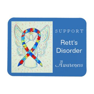 Rett's Disorder Awareness Ribbon Angel Magnet
