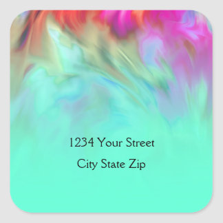 Return Address Aqua Tye Dye Design Square Sticker