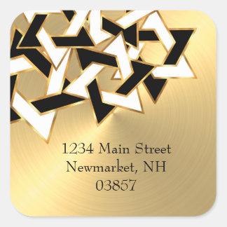 Return Address Black White Star of David Gold Square Sticker